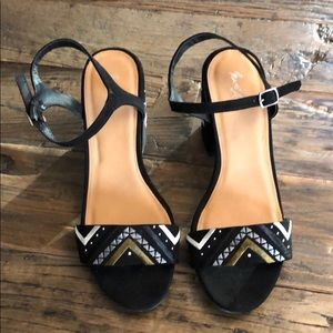 Shoes - Black Embroidered Sandals